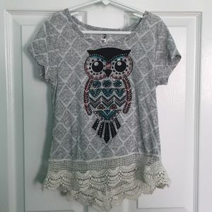 Owl Top with Lace Trim